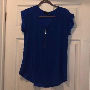 Express Blue Zippered Blouse